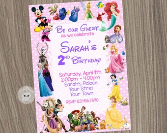 Disney Invitation Girl Characters Party Birthday Character