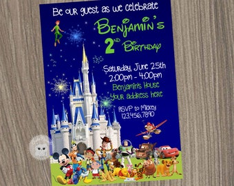 Disney Invitation Boy Characters Castle Birthday Pals