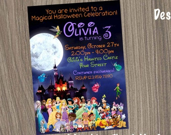 Disney Halloween Invitation Characters Birthday Party