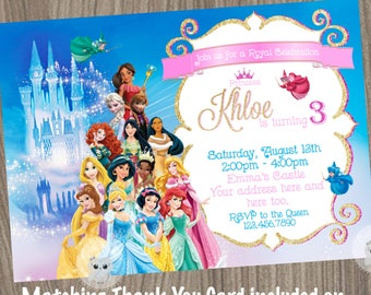 Disney Princess Invitation Etsy
