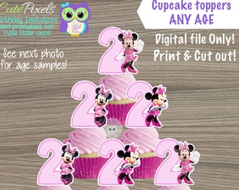 Minnie Mouse Cupcake toppers, Minnie Mouse Birthday, Minnie Mouse Decor, Minnie Topper, Minnie Mouse Party Decor, Minnie Cutouts