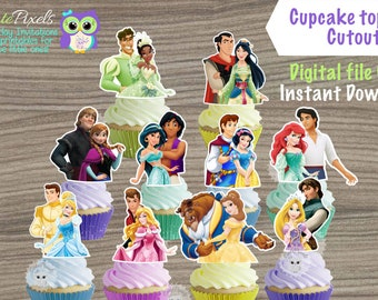 graphic regarding Disney Princess Cupcake Toppers Free Printable named Princess cupcake Etsy