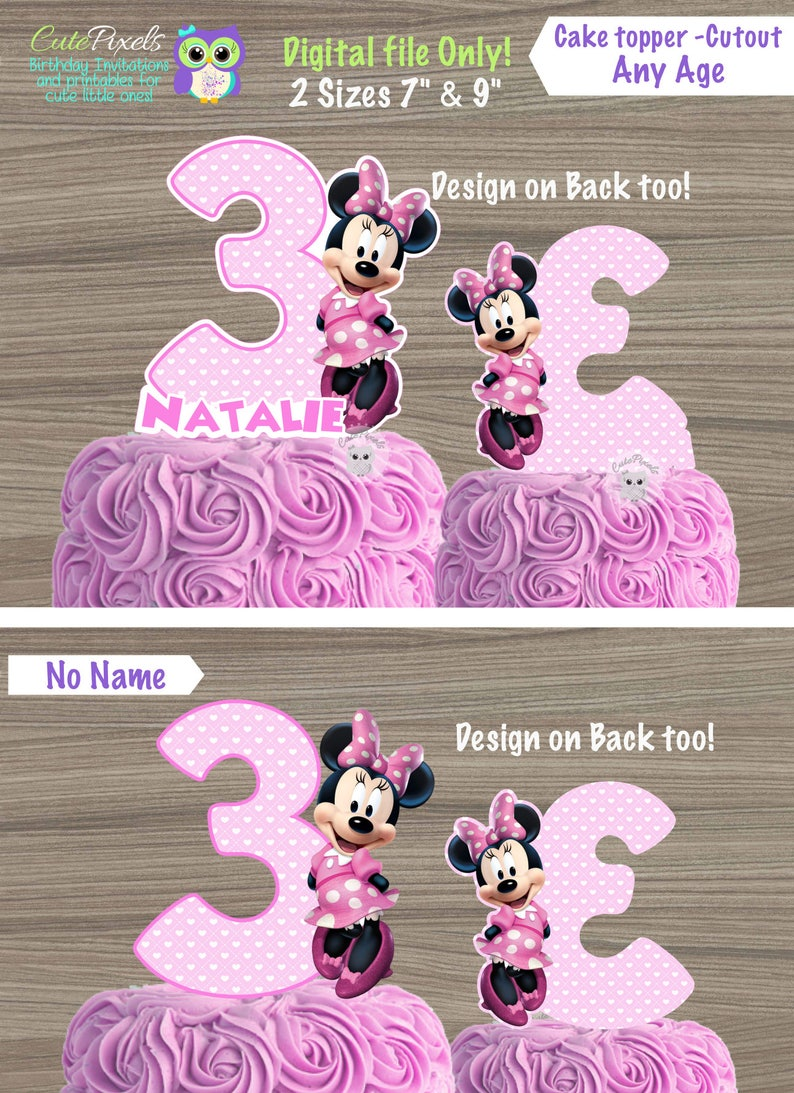 Super Minnie Mouse Cake Toppers Minnie Mouse Centerpiece Mickey Etsy Funny Birthday Cards Online Necthendildamsfinfo