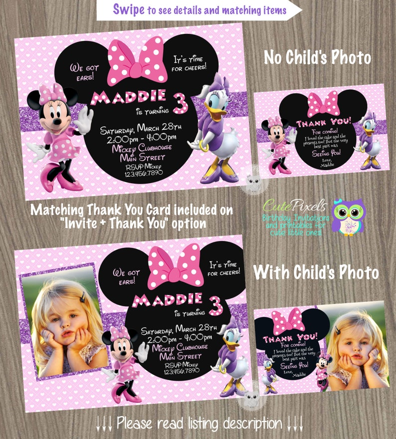 Minnie Mouse Invitation Daisy Duck
