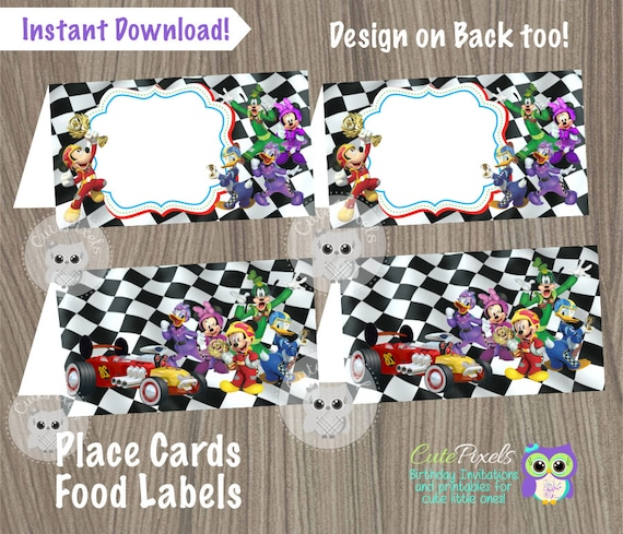 98b1eb40a4 Mickey Mouse Roadster Racers Place Cards Mickey Mouse