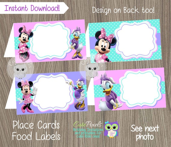 Minnie Mouse Place Cards Food Label