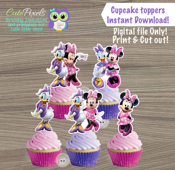 Amazing Minnie Mouse Cupcake Toppers Daisy Duck Cupcake Toppers Minnie Funny Birthday Cards Online Eattedamsfinfo