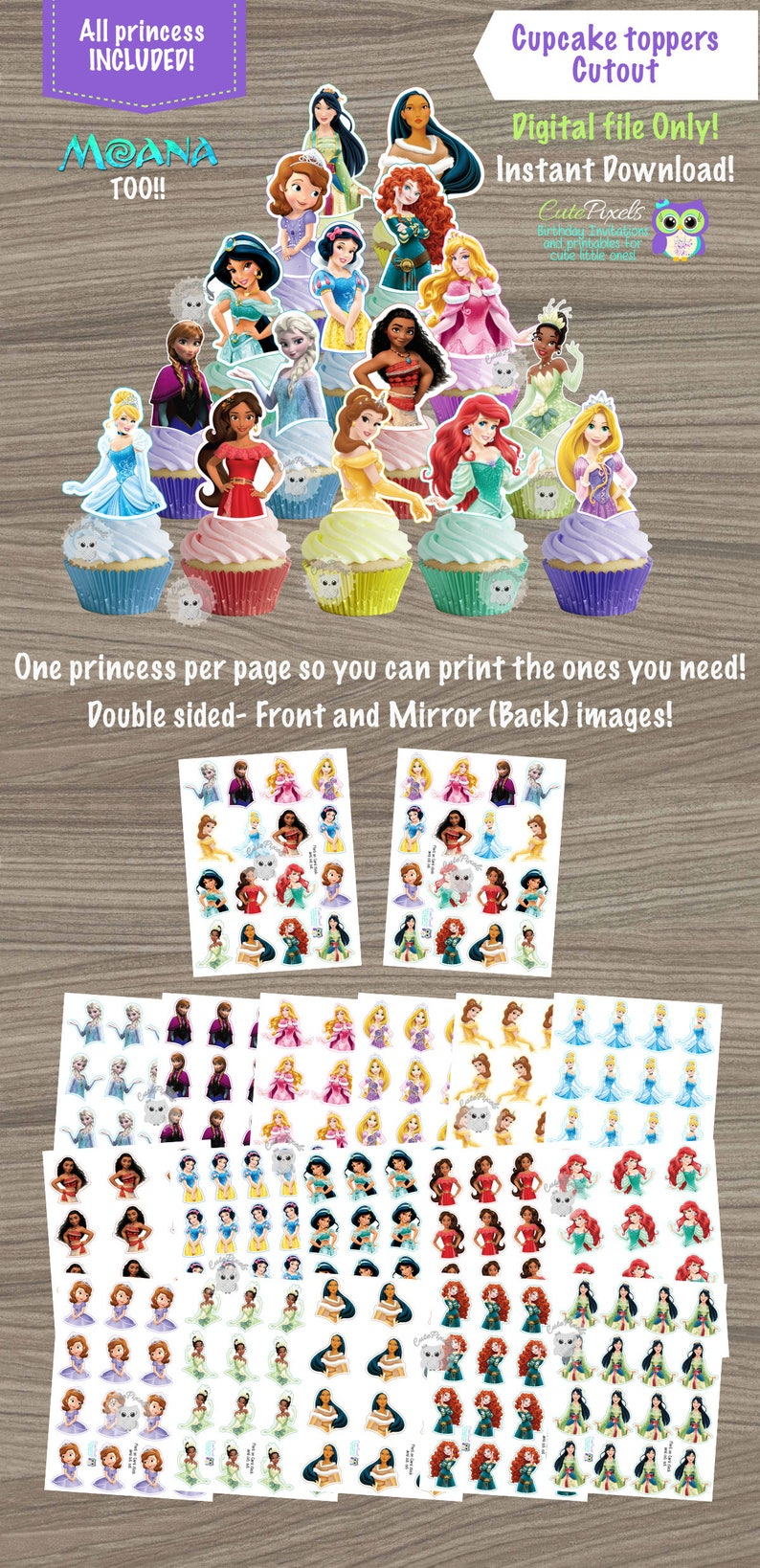 Disney Princess Cupcake Toppers Birthday Decor Party