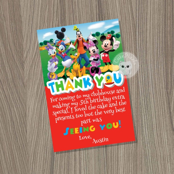 Mickey Mouse Clubhouse Thank You Card Mickey Mouse Birthday Mickey
