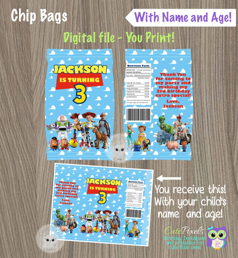 photograph about Printable Chip Bags called Toy Tale Chip Luggage, Printable Chip Bag, Toy Tale Birthday Social gathering, Toy Tale Celebration, Toy Tale Social gathering Favors, Toy Tale Get together Decor, Prefer Bag