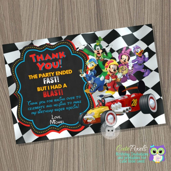 Mickey Mouse Roadster Racers Thank You Card Mickey And The Roadster