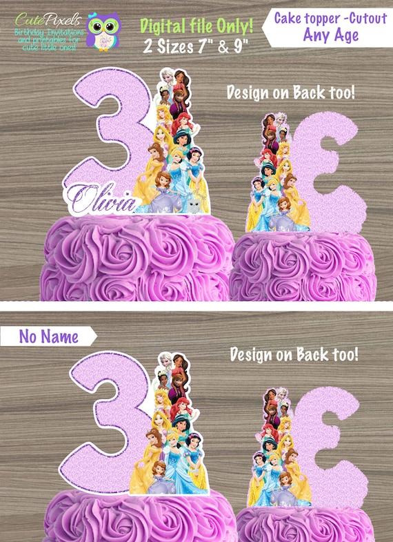 Phenomenal Disney Princess Cake Topper Disney Princess Birthday Etsy Birthday Cards Printable Trancafe Filternl