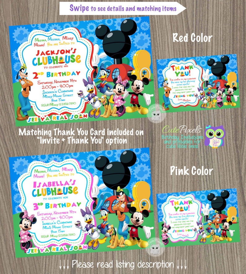 Mickey Mouse Birthday Invitation Clubhouse