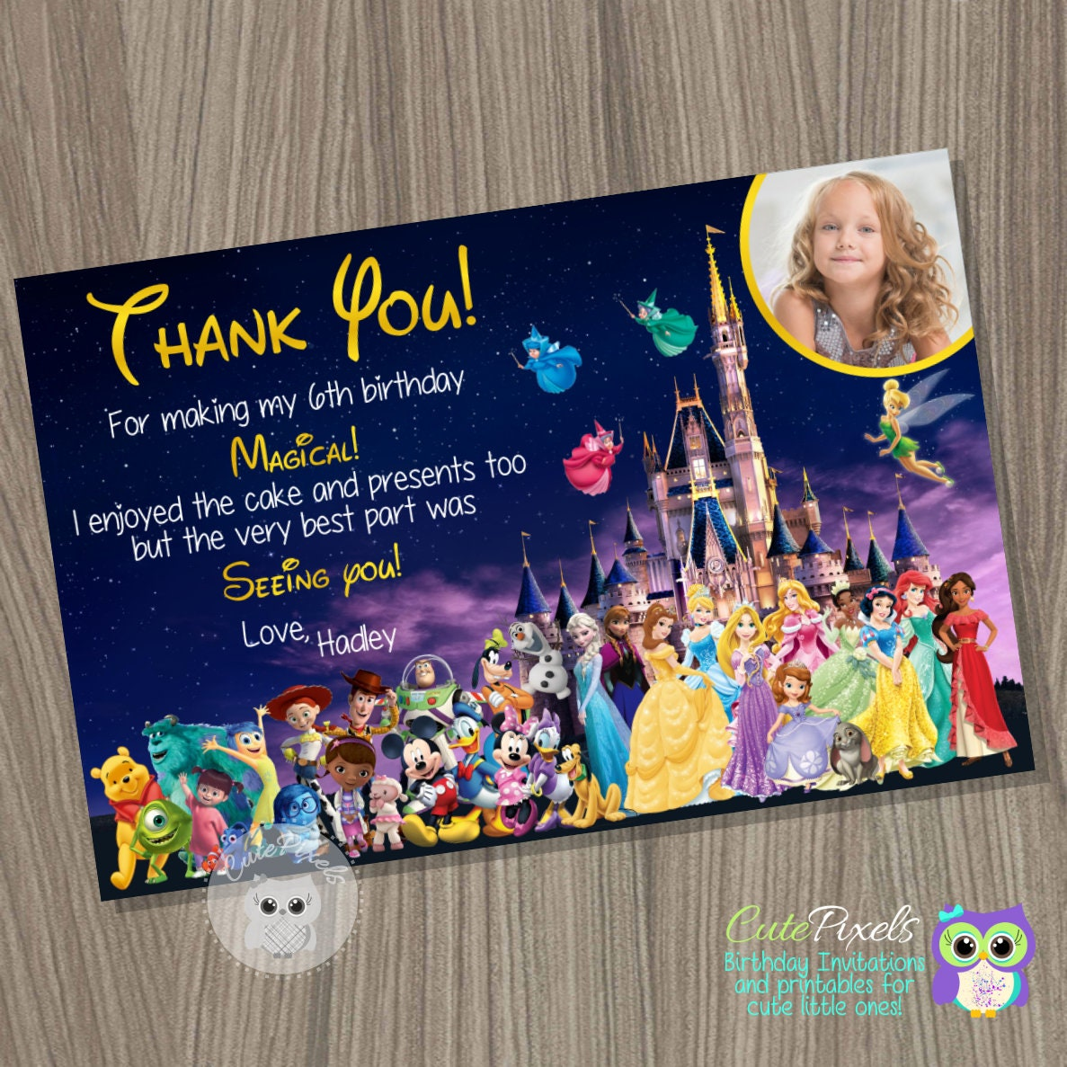 disney castle thank you card disney characters card disney