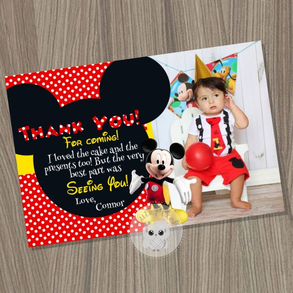 Mickey Mouse Thank You Card Mickey Mouse Birthday Mickey Mouse
