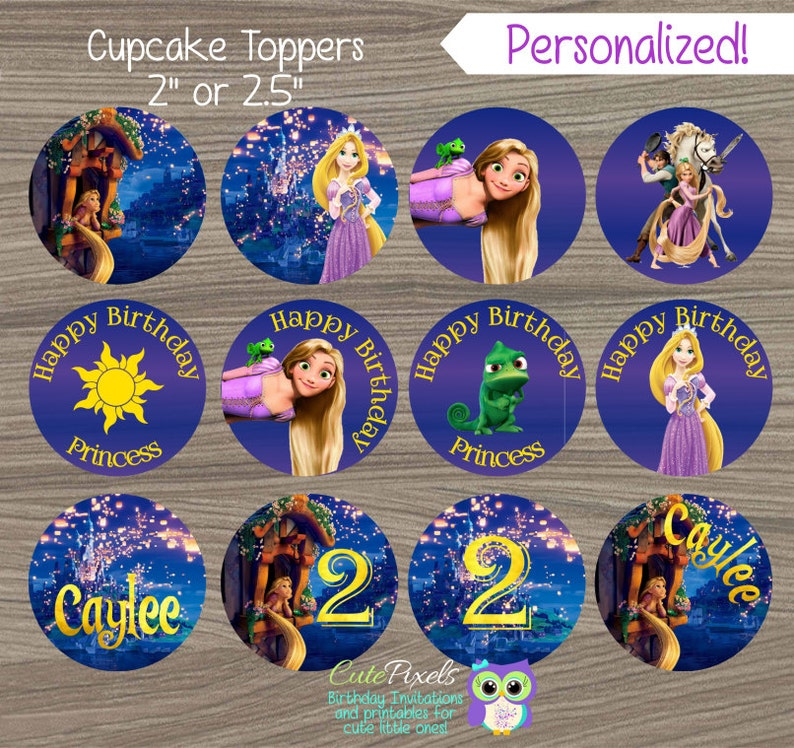 bdaf4502a3 Toppers de Cupcake Tangled Rapunzel Cupcake Toppers