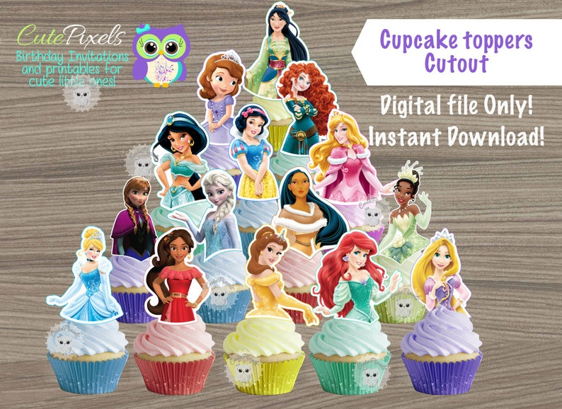 Disney Princess Cupcake Toppers Birthday