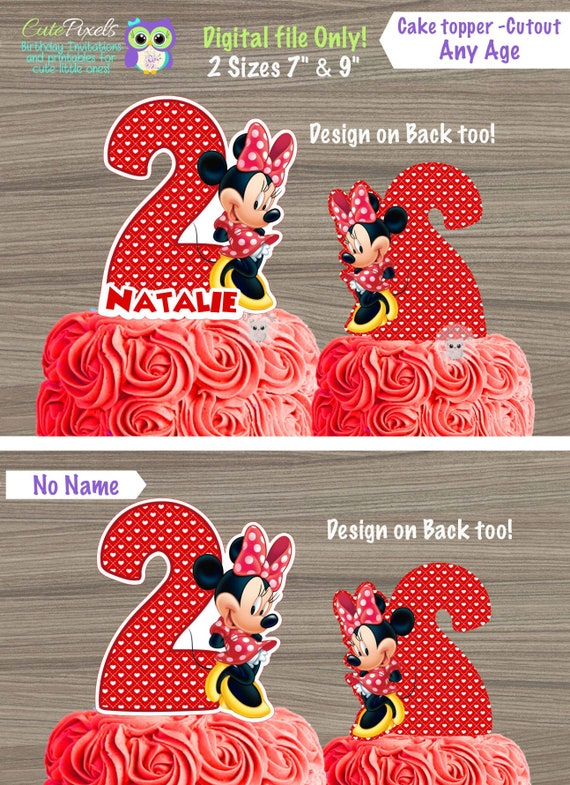 Miraculous Minnie Mouse Cake Toppers Minnie Mouse Centerpiece Minnie Mouse Funny Birthday Cards Online Overcheapnameinfo