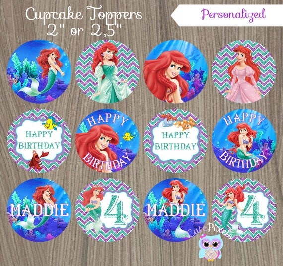 Little Mermaid Cupcake Toppers Ariel Cupcake Toppers ...
