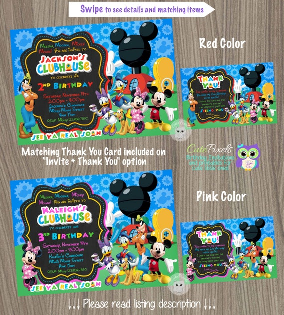Mickey Mouse Clubhouse Invitation Birthday