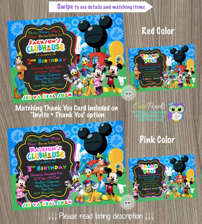 Mickey Mouse Clubhouse Invitation Mickey Mouse Birthday Etsy