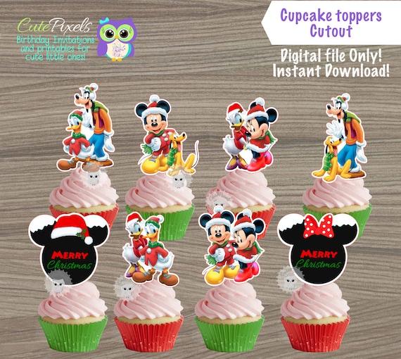 Swell Mickey Mouse Christmas Cupcake Toppers Mickey Mouse Christmas Funny Birthday Cards Online Inifodamsfinfo