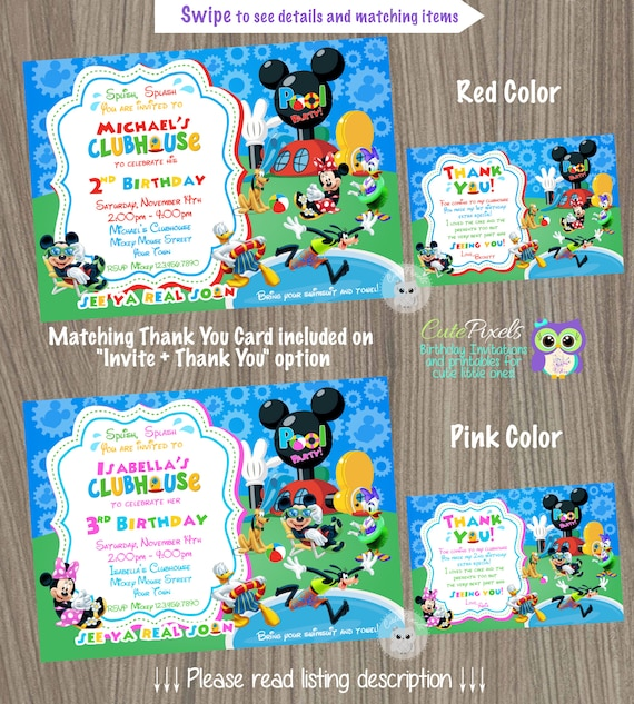 Mickey Mouse Clubhouse Invitation Summer Invitation Minnie Etsy