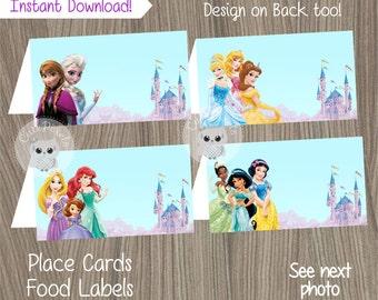 Disney Princess Place Cards, Princess Birthday, Disney Princess Party, Princess Food Labels, Disney Princess, Tent Cards, Food Labels