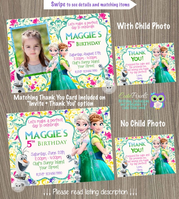 Frozen Fever Invitation Disney