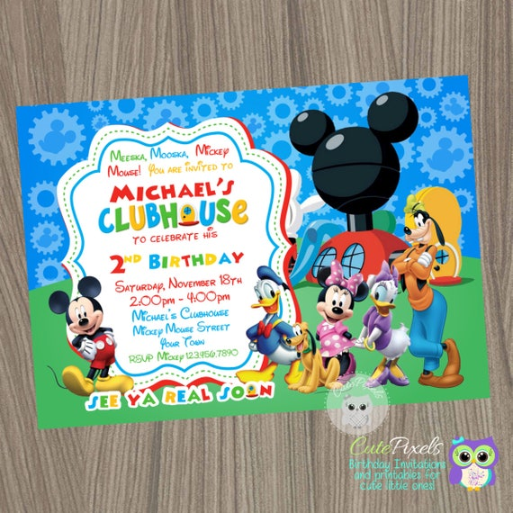 Mickey Mouse Clubhouse Invitation Mickey Mouse Birthday Mickey Mouse Clubhouse Party Mickey Mouse Clubhouse Birthday Mickey Birthday