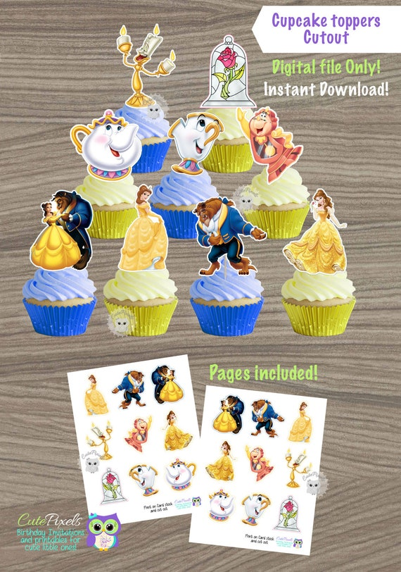 Beauty And Beast Cupcake Toppers Princess Belle Cupcake Etsy