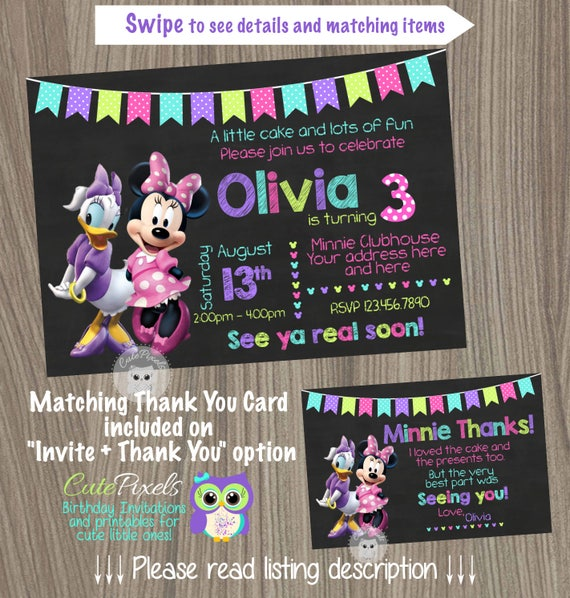 Minnie Mouse Invitation Daisy Duck Birthday Party Pink