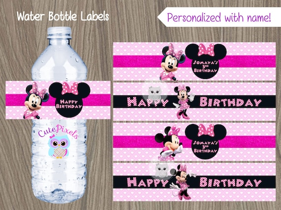 picture regarding Free Printable Minnie Mouse Water Bottle Labels referred to as Minnie Mouse H2o Bottle Labels, Minnie Mouse Labels