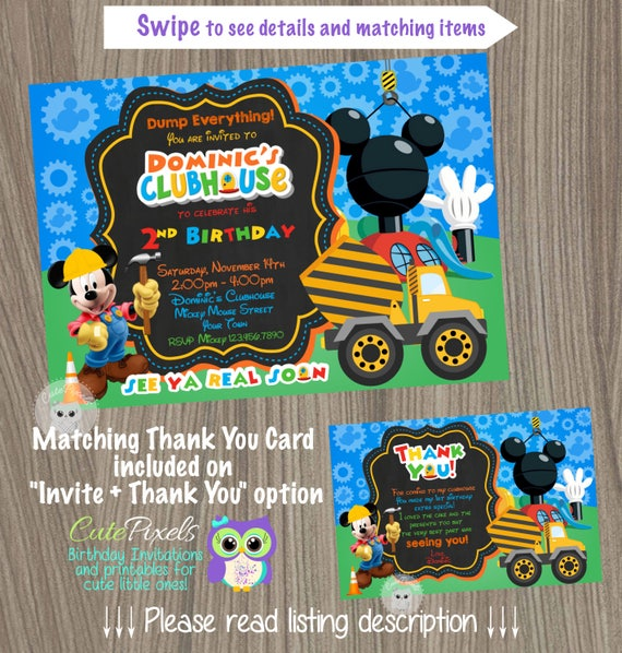 Mickey Mouse Clubhouse Invitation Construction Birthday