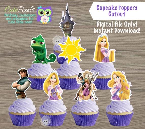 photo regarding Disney Princess Cupcake Toppers Free Printable identify Tangled cupcake toppers, Princess Rapunzel Cupcake Toppers