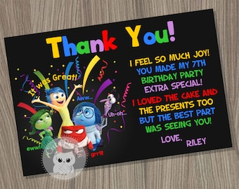Inside Out Thank You Card, Inside Out Disney, Disney Pixar Inside Out, Inside Out Birthday, Inside Out party