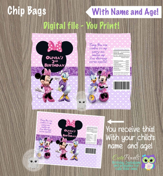 picture relating to Printable Chip Bags identify Minnie Mouse Chip Baggage, Daisy Chip Luggage, Printable Chip Luggage