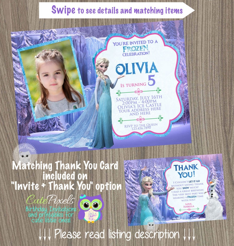 Frozen Invitation Disney Elsa Birthday Party