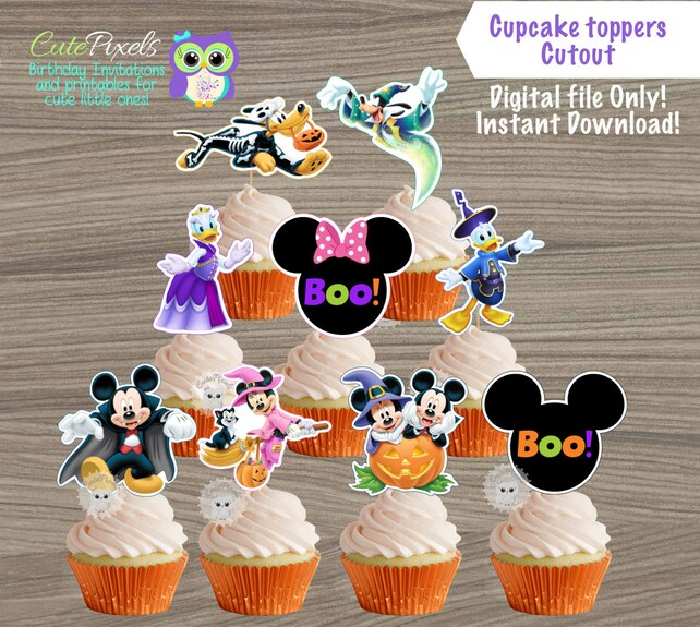 Mickey Mouse Halloween Cupcake Toppers Mickey Mouse Etsy
