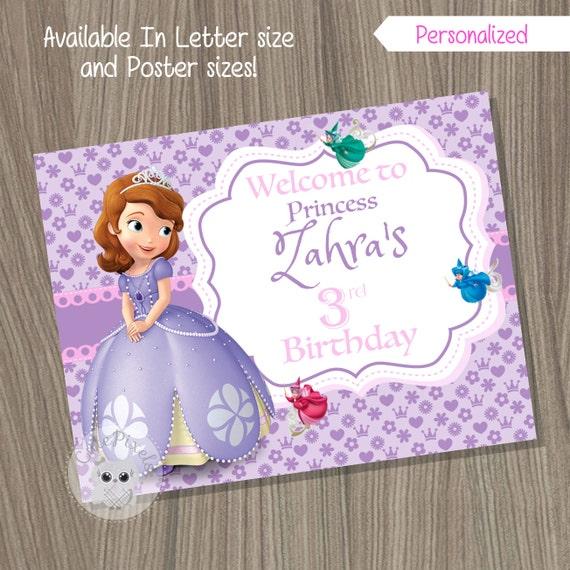 Princess Sofia Welcome Sign Princess Sofia Birthday Sign Etsy