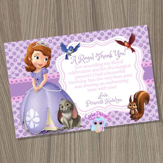 Sofia The First Thank You Card Princess Sofia Thank You Card Etsy