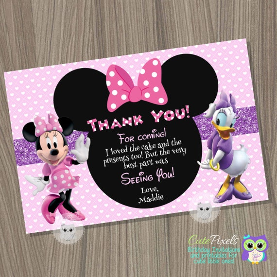 Minnie Mouse Thank You Card Daisy Duck Birthday