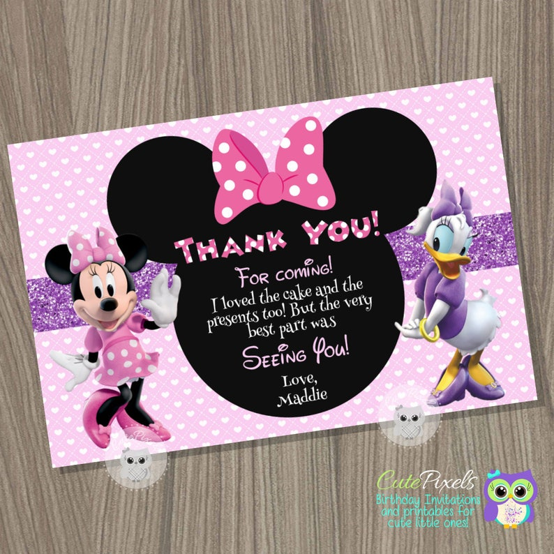 PRINTED Disney Minnie Mouse Birthday Invitations Red With Daisies Party Home Furniture DIY