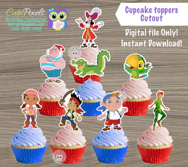 Jake And The Neverland Pirates Cupcake Toppers Princess Belle Etsy