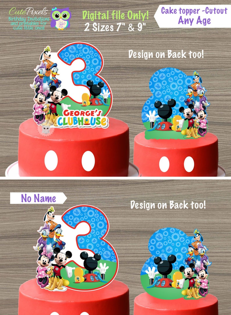 Admirable Mickey Mouse Clubhouse Cake Topper Mickey Cake Mickey Mouse Etsy Personalised Birthday Cards Paralily Jamesorg