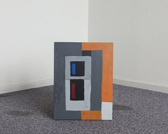 Abstract naive postmodern painting on found wood