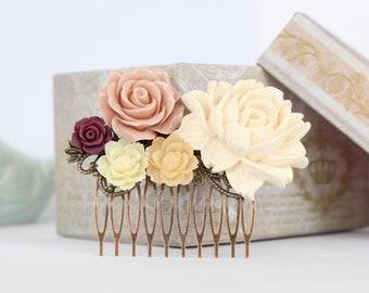 Rustic wedding hair comb, ivory bridal headpiece, hair comb for bride, rustic bridal hair accessories, vintage wedding hair comb