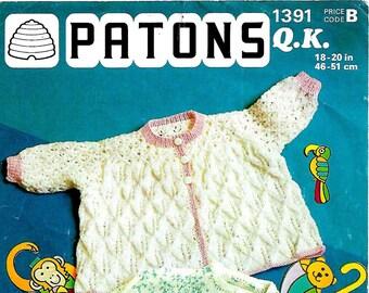 PATONS 1391 Baby Jackets Original Vintage Knitting Pattern