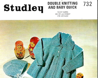 STUDLEY 732 Baby Pram Set Vintage Knitting Pattern PDF Instant Download