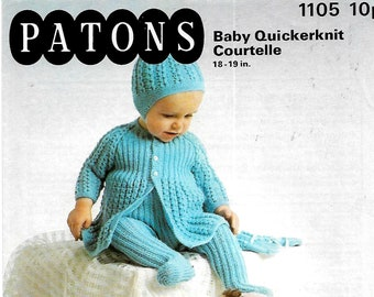 31f2ac53ee28 PATONS 5093 Doll Premature Baby Pram Set Knitting Pattern PDF